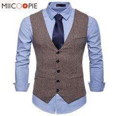 Fashion Suit Vest Men Formal Dress Vest Colete Masculino Herringbone Gilet Fitness Sleeveless Jacket Wedding Waistcoat Men