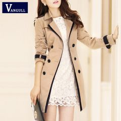 Women Thin Trench Coat Turn-down Collar Double Breasted Patchwork Long Trench Coat Slim Plus Size Wind coat