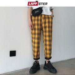 Streetwear Yellow Plaid Pants Men Joggers Man Casual Straight Harem Pants Men Korean Hip Hop Track Pants