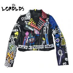 Leather Jacket Women Graffiti Colorful Print Biker Jackets and Coats PUNK Streetwear Ladies clothes
