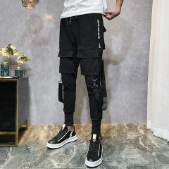 Men Streetwear Pants Black Harem Pants Light Men Punk Pants Ribbons Casual Slim Jogger Pants Men Hip Hop Trousers