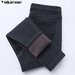 Women Gold Fleeces Inside Thickening Denim Pants High Waist Warm Trousers Female jeans woman Pants