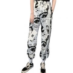 Stylish Cartoon Print Drawstring Pants
