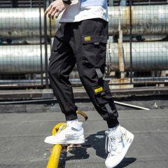 Spring Hip Hop Joggers Men Black Harem Pants Multi-pocket Ribbons Man Sweatpants Streetwear Casual Mens Pants M-3XL
