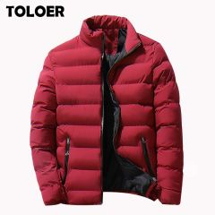 Men Parka Cotton Padded Winter Jacket Coat Mens Warm Jackets Male Solid Color Stand Collar Zipper Thick Coats Down Parkas