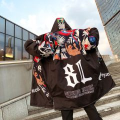 New Graffiti Printed Hooded Cotton Men Parka Winter Padded Long Outerwear Hip Hop Loose Thicken Mens Jackets and Coats