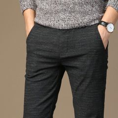 Mens Spring And Summer Casual Pants Men Striped Micro Elastic Straight Trousers