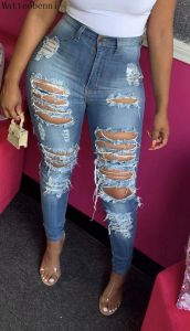 Sexy Ripped Hole Jeans For Women Skinny Denim Pants High Waist Stretch Boyfriend Jeans Torn Jeggings Plus Size Mom Calca Jeans