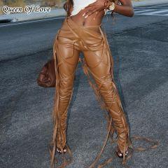 Slant Waist Design Lace Up Sexy Flare Pants Women High Waist Bandage Leggings Club Party PU Leather Tassels Ruched Pants Female
