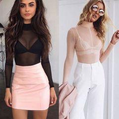Sexy Ladies Women's Long Sleeve Sheer Mesh See Through Plain Top T-Shirt