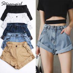 Shorts Women's White Women Short Jeans Khaki Wide Leg Elastic Waist Vintage High Waist Shorts Women Summer
