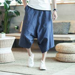 Dropshipping Men Harajuku Harem Pants Mens Summer Cotton Linen Joggers Pants Male Vintage Chinese Style Sweatpants Fashions