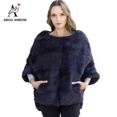 Newest Rabbit Fur Coat Bat sleeved Fur Jacket Women's Autumn and Winter Natural Pink Short Loose Mink Real Fur Coat Female