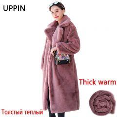 Winter Women Faux Rabbit Fur Coat Woman Long Fur jacket Luxury Loose Lapel Thick Warm Plus Size Oversize Female Plush coat