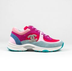 CHANEL CC LOGO SUEDE NYLON REFLECTIVE PINK TURQUOISE LILAC SNEAKER