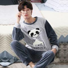 Winter Pajamas Men Long Sleeved Coral Fleece Warm Flannel Pyjamas Mens Lounge Animal Pajama Set plus Size 3XL 4XL 5XL Sleepwear