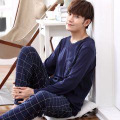 Yidanna long sleeve pijama cotton pajamas set for male plus size sleep clothing casual nightie sleepwear men pyjamas suit autumn