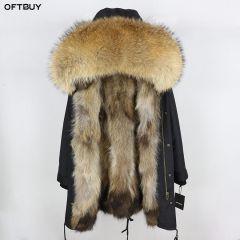 Real Fur Coat Winter Jacket Women Long Parka Waterproof Big Natural Raccoon Fur Collar Hood Thick Warm Real Fox Fur Liner