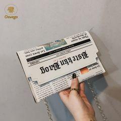 Envelope Bag Women New Personality Inkjet Newspaper Clutch Bags Joker Shoulder Messenger Bag Chain Evening Bags