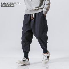 Men Harem Pants Japanese Casual Cotton Linen Trouser Man Jogger Pants Chinese Baggy Pants