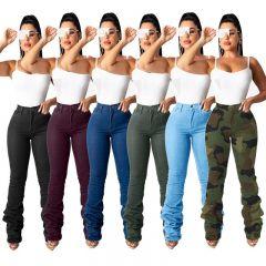 Winter Female Draped Hem Denim Pants Women Retro Ripped Jeans Straight Trousers Hole Casual Bell-Bottoms Pants GL8609