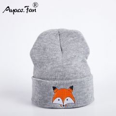 New Knitted Winter Caps Women Men Soft Warm Beanie Knit Cap Crochet Elasticity Hats Skullies Female Ear Embroidery Fox Hat