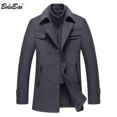 Men Winter Wool Coat Men's Fashion Brand Comfortable Warm Thick Wool Blends Woolen Pea Coat Male Trench Coat Overcoat