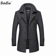 Men's New Casual Brand Solid Color Wool Blends Woolen Pea Coat Male Trench Coat Overcoat