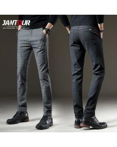 Pants Men Casual Elastic Long Trousers Male Cotton plaid straight gray Work Pant men's spring