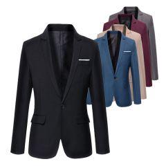 Mens Korean slim fit arrival cotton blazer Suit Jacket black blue plus size s to 4XL Male blazers Mens coat Wedding