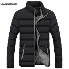 Men Parka Cotton Padded Winter Jacket Coat mens warm jacket Solid color Zipper Thick Coat Men Down Parka