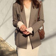 Vintage Double Breasted Office Ladies Plaid Blazer Long Sleeve Loose Houndstooth Suit Coat Jacket Women blazers Female