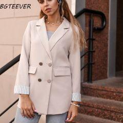 Women Blazer Jacket Autumn Winter Female Outerwear Elegant Ladies Coat