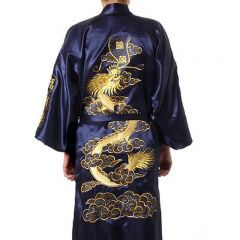 Navy Blue Chinese Men's Satin Silk Robe Embroidery Kimono Bath Gown Dragon Size S M L XL XXL XXXL