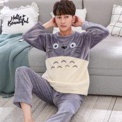 Men's Pajamas Set Autumn Winter Coral Fleece Warm Thicken Flannel Warm Pajamas Men's Long Sleeve Nightwear Top Pant Flannel