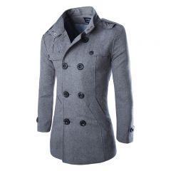 autumn men dust coat woolen overcoat slim fit outwear